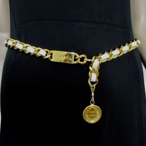 Chanel Chain White Leather Gold Medallion Belt